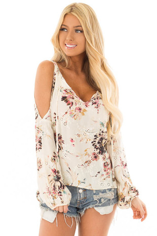 Cream Floral Print Cold Shoulder Top with Front Tie Detail front close up