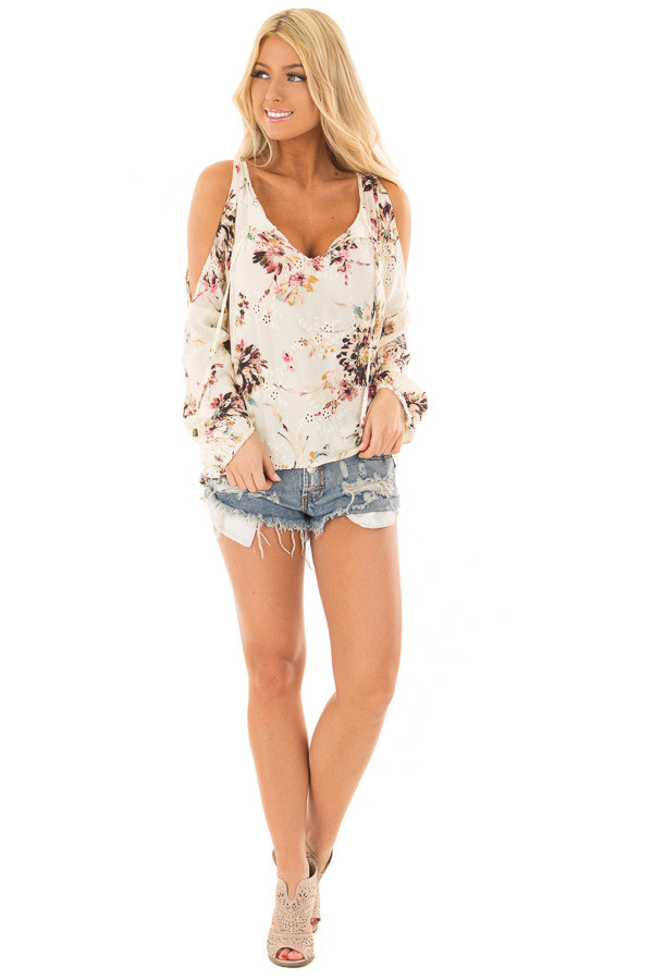 Cream Floral Print Cold Shoulder Top with Front Tie Detail front full body