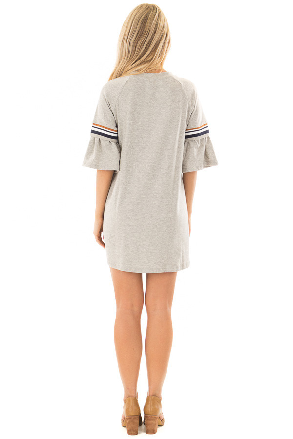 Heather Grey Bell Sleeve Tunic with Stripe Detail back full body