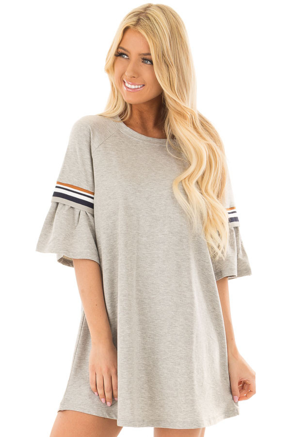 Heather Grey Bell Sleeve Tunic with Stripe Detail front close up