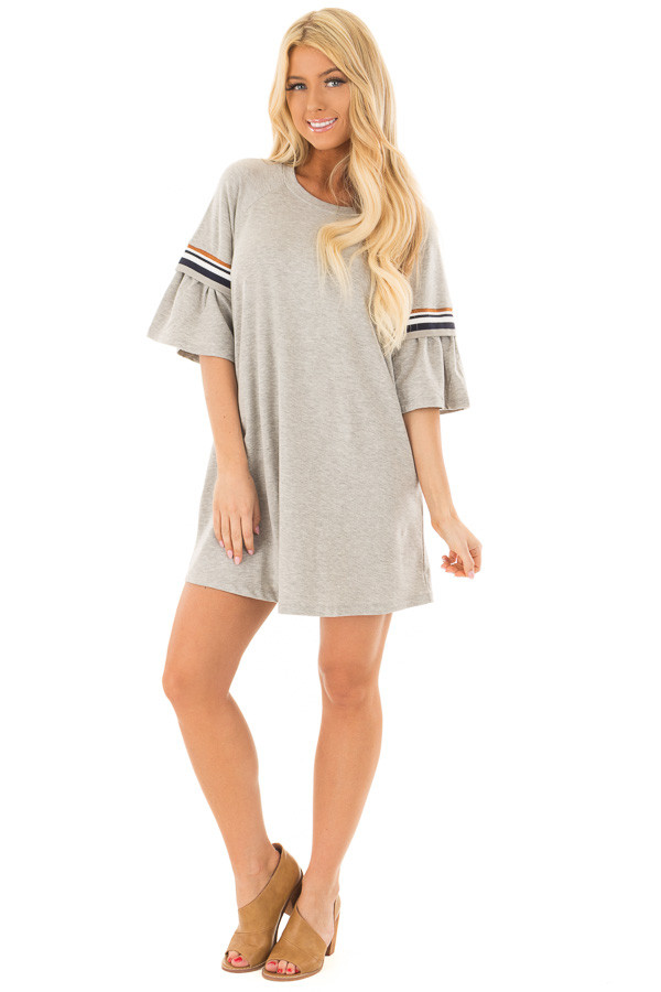Heather Grey Bell Sleeve Tunic with Stripe Detail front full body