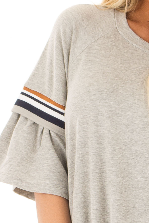 Heather Grey Bell Sleeve Tunic with Stripe Detail detail