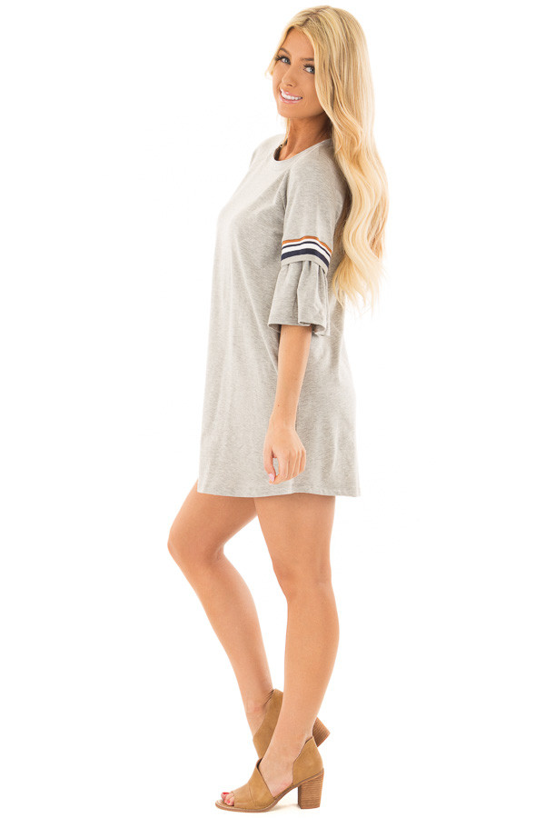 Heather Grey Bell Sleeve Tunic with Stripe Detail side full body