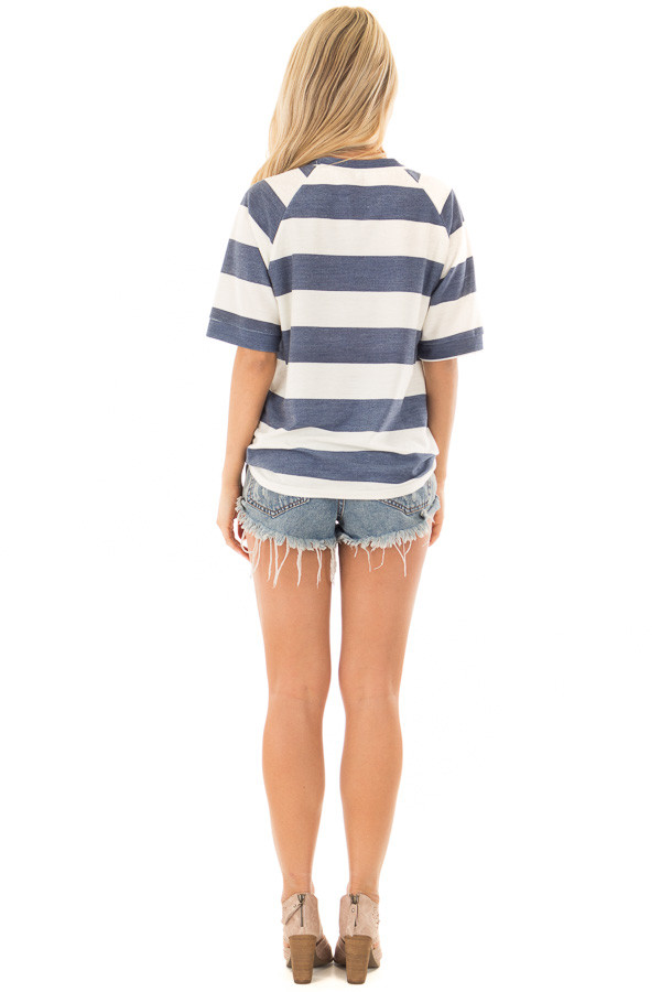 Denim Blue Chunky Striped Short Sleeve Top with Tie Detail back full body
