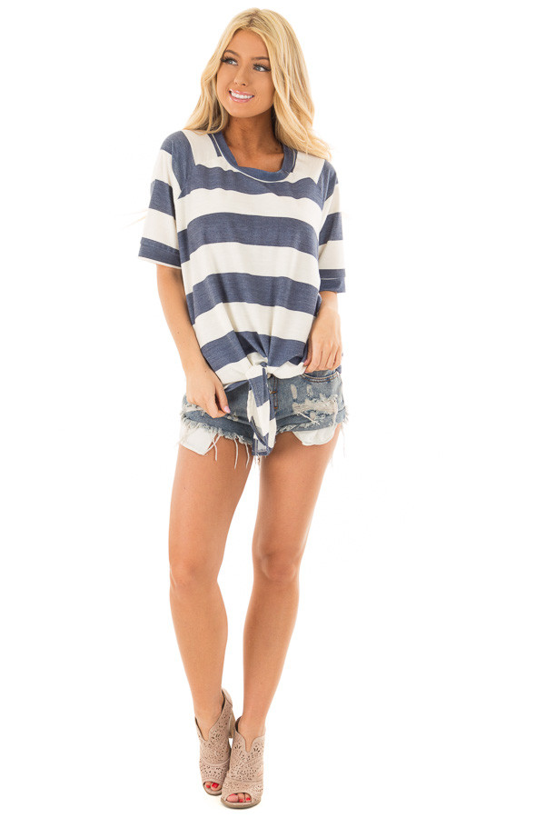 Denim Blue Chunky Striped Short Sleeve Top with Tie Detail front full body