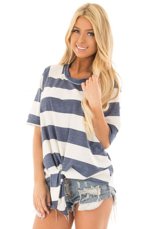 Denim Blue Chunky Striped Short Sleeve Top with Tie Detail front closeup