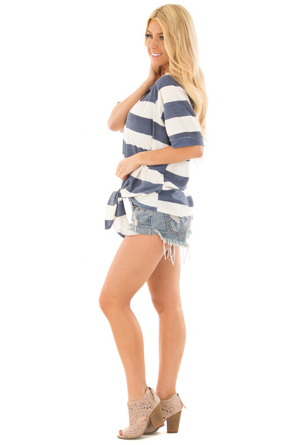 Denim Blue Chunky Striped Short Sleeve Top with Tie Detail side full body