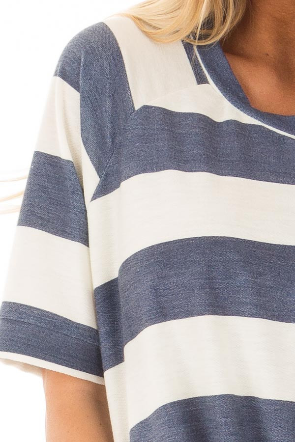 Denim Blue Chunky Striped Short Sleeve Top with Tie Detail front detail