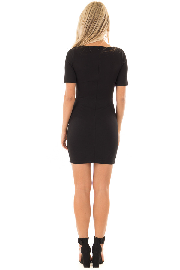 Black Fitted Dress with Front Tie Detail back full body