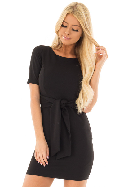 Black Fitted Dress with Front Tie Detail front closeup