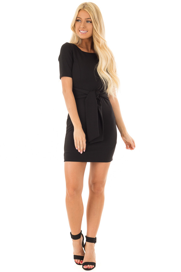 Black Fitted Dress with Front Tie Detail front full body