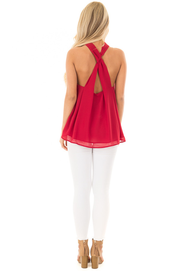 Lipstick Red High Neck Blouse with Twist Back Detail back full body