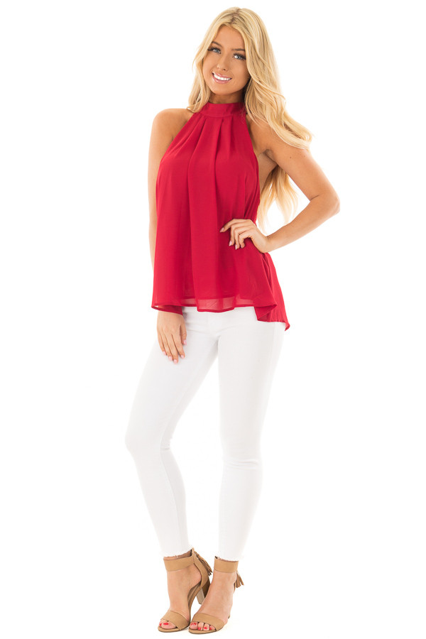 Lipstick Red High Neck Blouse with Twist Back Detail front full body