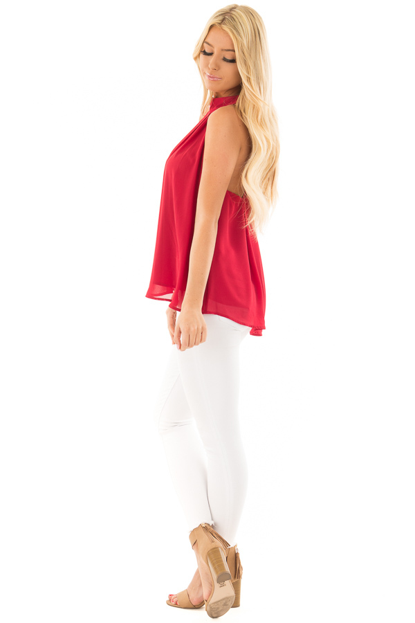 Lipstick Red High Neck Blouse with Twist Back Detail side full body