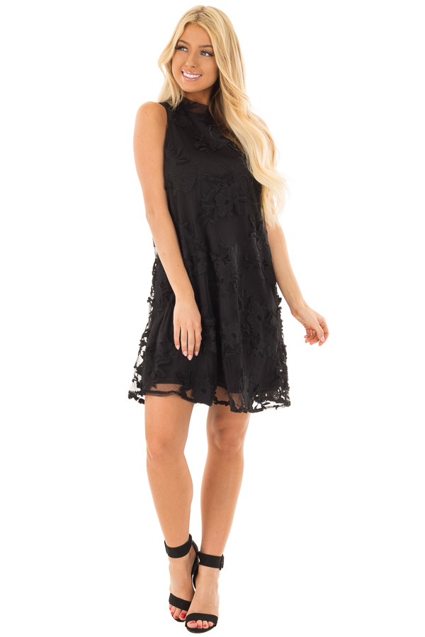 Black Sleeveless Lace Swing Dress with High Neck front full body