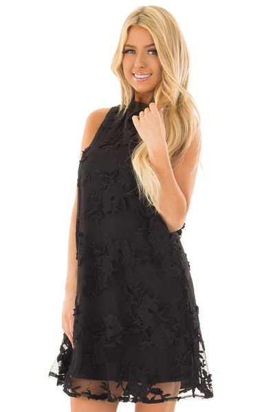 Black Sleeveless Lace Swing Dress with High Neck front closeup