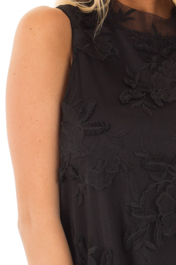 Black Sleeveless Lace Swing Dress with High Neck front detail