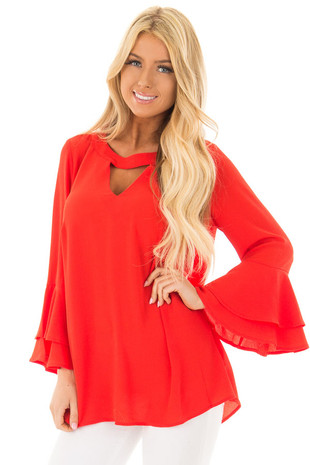 Candy Red Top with Neck Band and Keyhole Cut Out front closeup