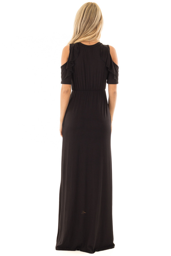Black Cold Shoulder Maxi Dress with Ruffle Sleeves back full body