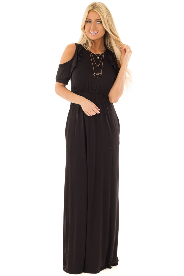 Black Cold Shoulder Maxi Dress with Ruffle Sleeves front full body