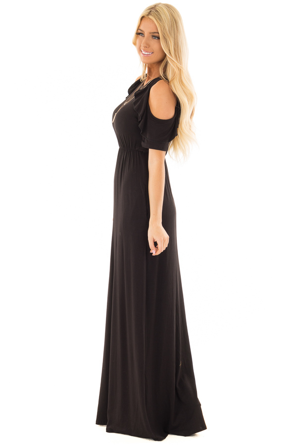 Black Cold Shoulder Maxi Dress with Ruffle Sleeves side full body