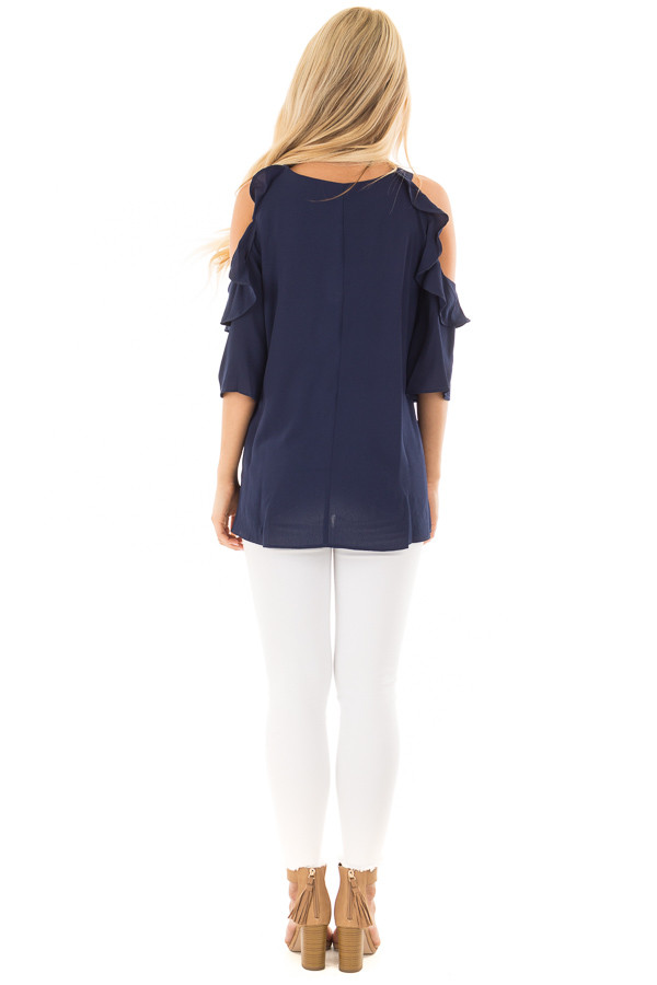 Navy Cold Shoulder Top with Ruffle Detail back full body