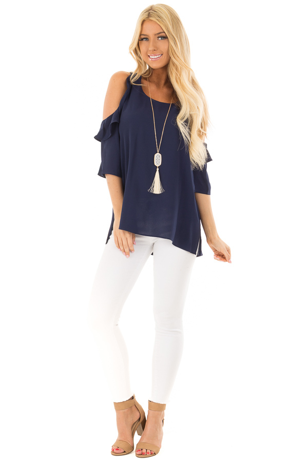 Navy Cold Shoulder Top with Ruffle Detail front full body