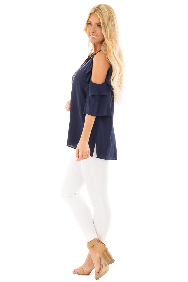 Navy Cold Shoulder Top with Ruffle Detail side full body