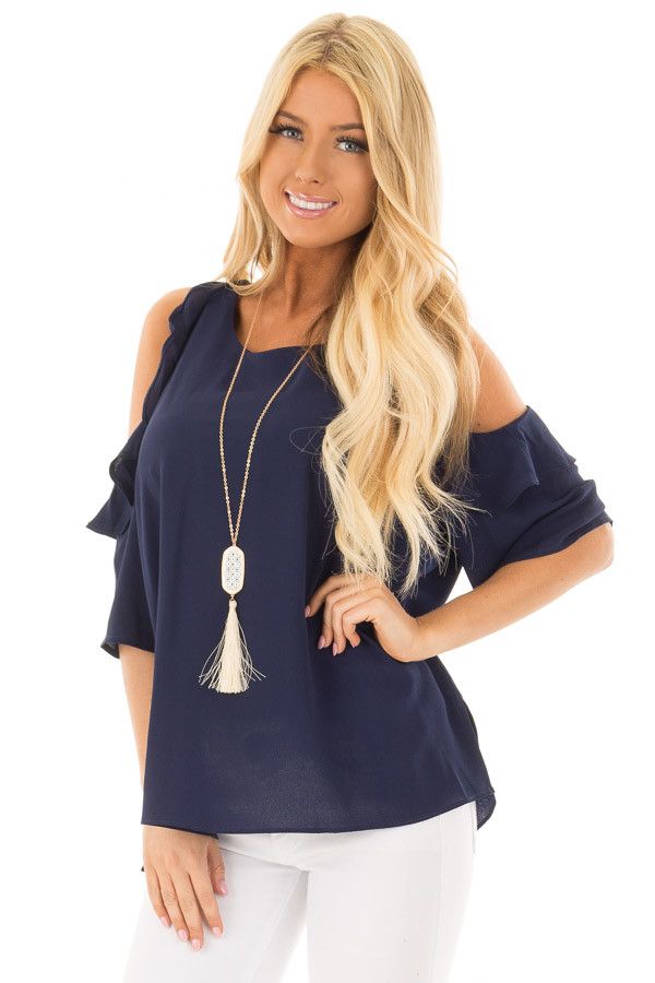 Navy Cold Shoulder Top with Ruffle Detail front closeup