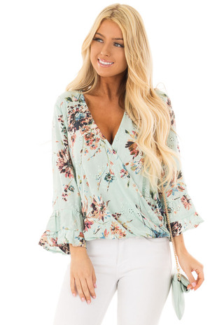 Mint Floral Print Wrap Style Top with Bell Sleeves front closeup