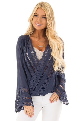 Navy Long Sleeve Surplice Top with Crochet Detail front closeup
