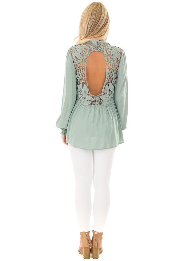 Sage Top with Sheer Lace Yoke back full body