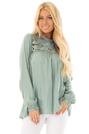 Sage Top with Sheer Lace Yoke front closeup