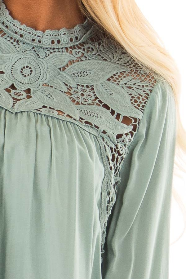 Sage Top with Sheer Lace Yoke front detail