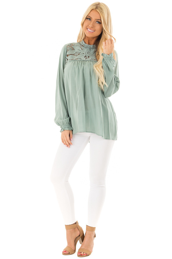 Sage Top with Sheer Lace Yoke front full body