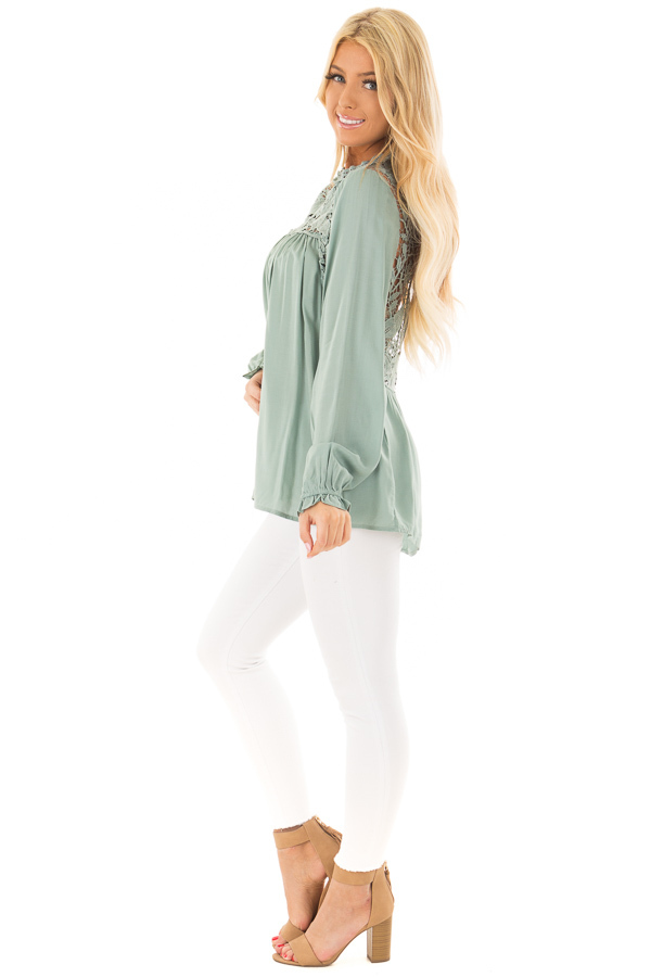 Sage Top with Sheer Lace Yoke side full body