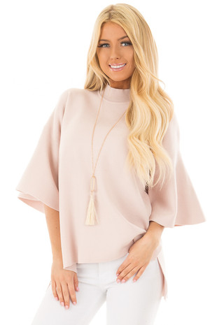 Light Pink 3/4 Bell Sleeve High Neck Sweater front closeup