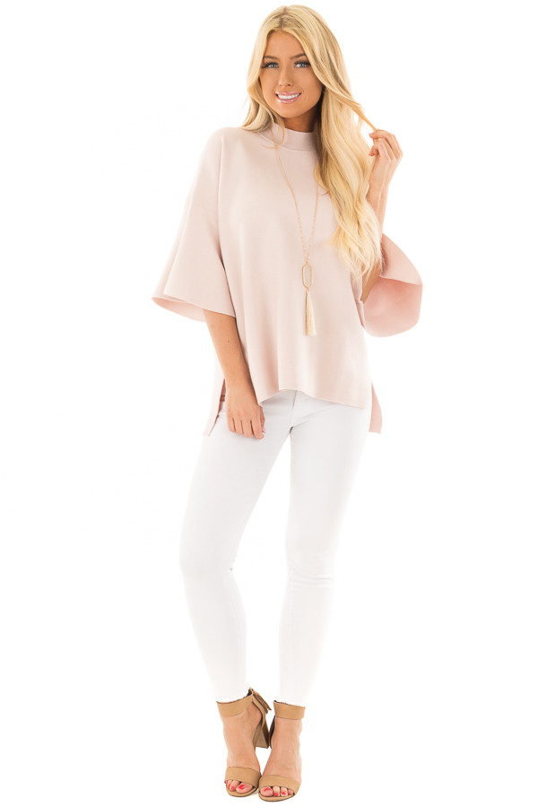 Light Pink 3/4 Bell Sleeve High Neck Sweater front full body