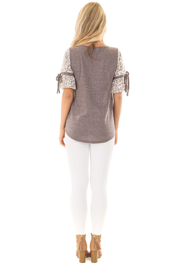 Mocha Top with Leopard Print Bell Sleeves back full body