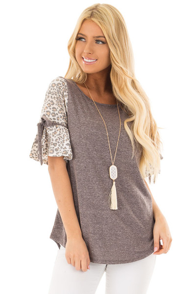 Mocha Top with Leopard Print Bell Sleeves front closeup