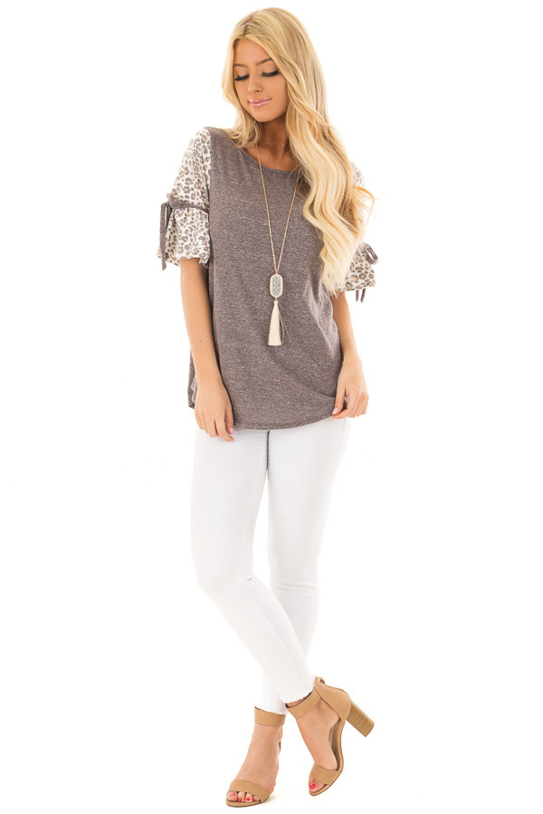 Mocha Top with Leopard Print Bell Sleeves front full body
