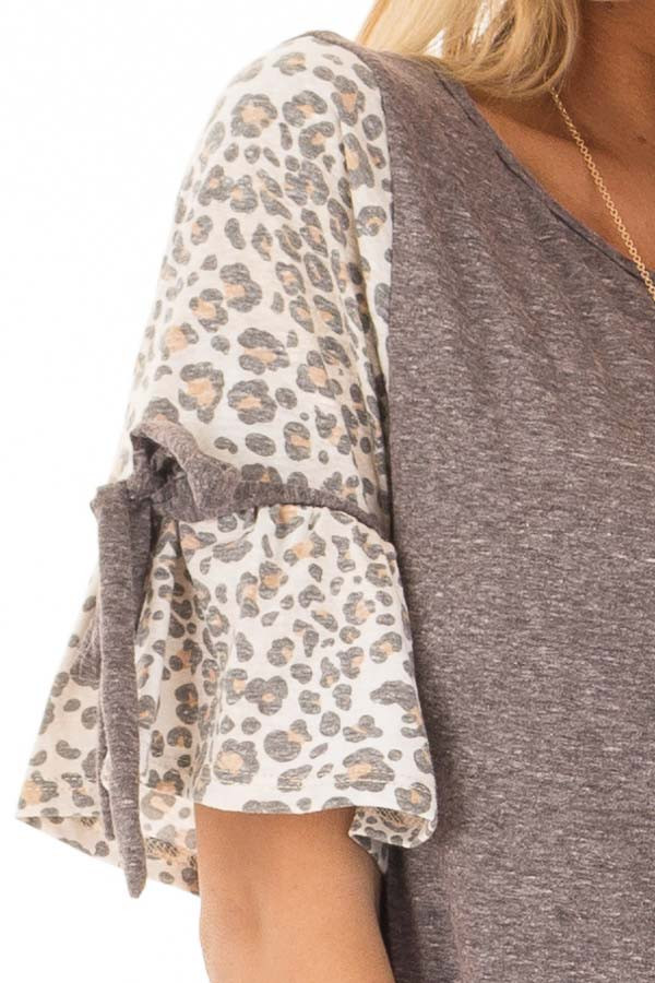 Mocha Top with Leopard Print Bell Sleeves front detail