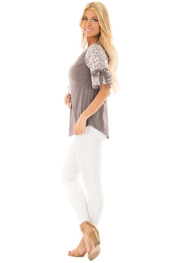 Mocha Top with Leopard Print Bell Sleeves side full body