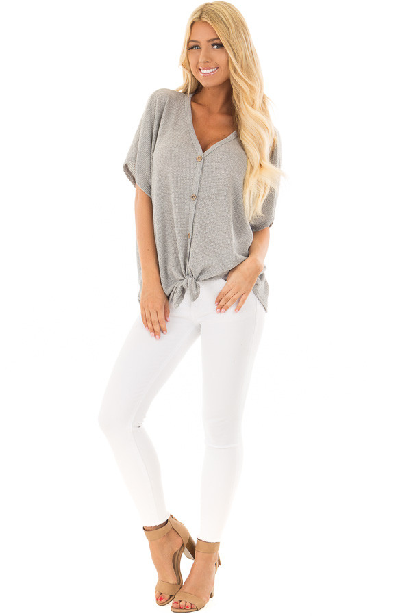 Heather Grey Button Down Short Sleeve Top with Front Tie front full body