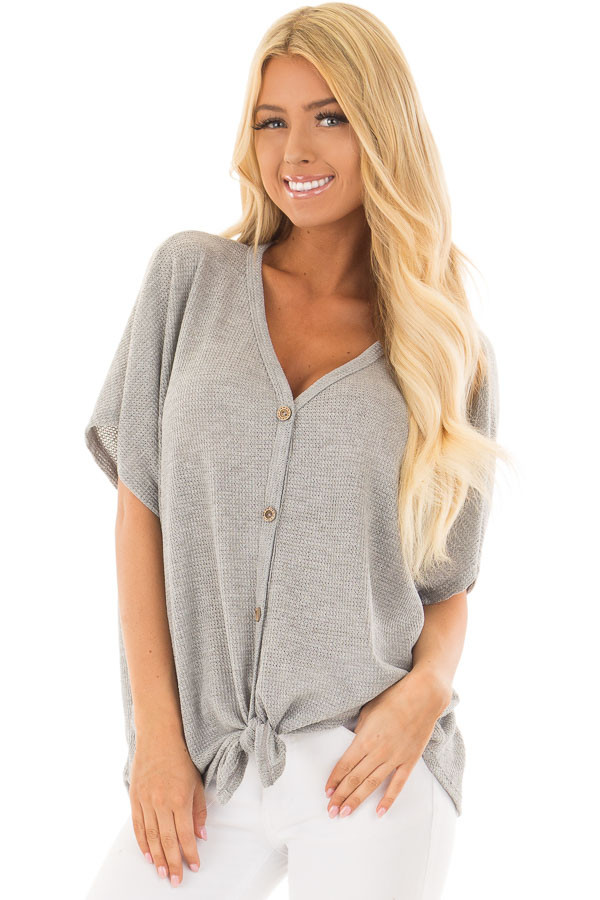 Heather Grey Button Down Short Sleeve Top with Front Tie front closeup