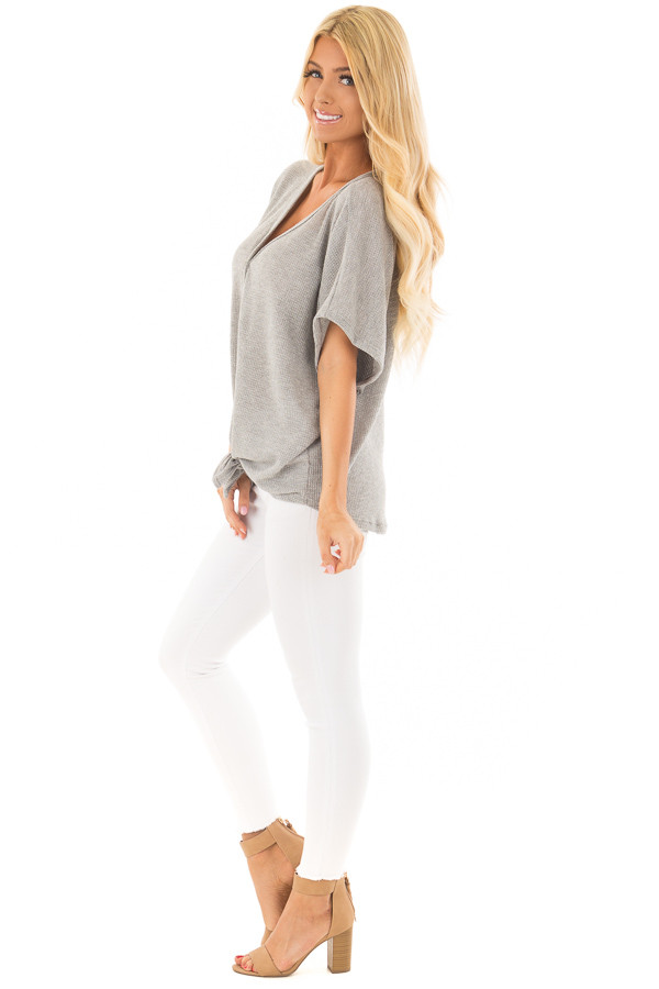 Heather Grey Button Down Short Sleeve Top with Front Tie side full body