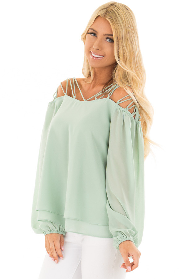 Sage Blouse with Caged Neckline front closeup