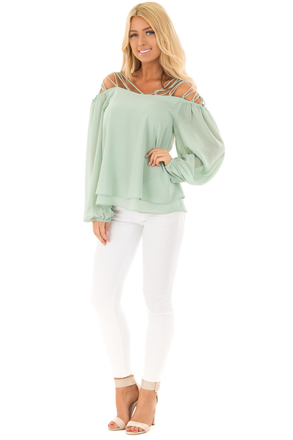 Sage Blouse with Caged Neckline front full body