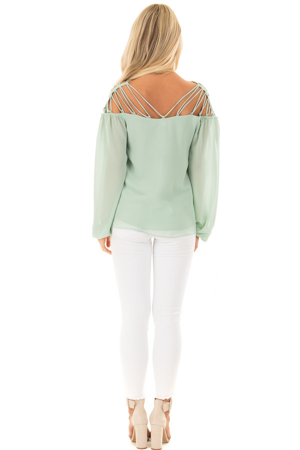 Sage Blouse with Caged Neckline back full body