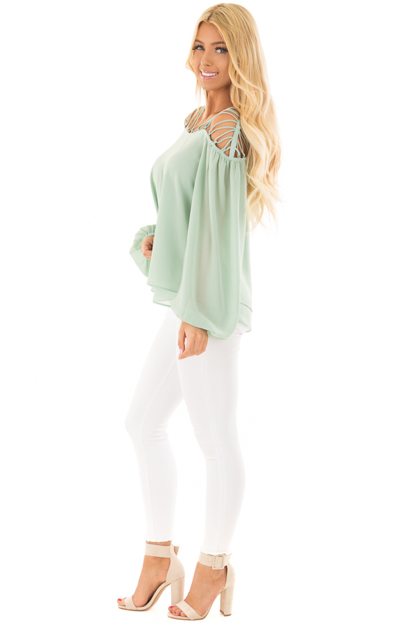 Sage Blouse with Caged Neckline side full body